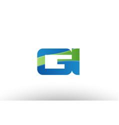 blue green gi g i alphabet letter logo vector image