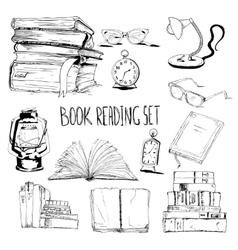 Books reading set vector image