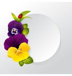Frame of naturalistic pansy flower with leaves vector image vector image