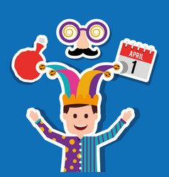 man in clown clothes and jester hat vector image