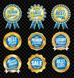 set of excellent quality blue badges with gold vector image