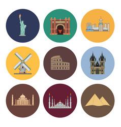 8 flat landmark icons vector image