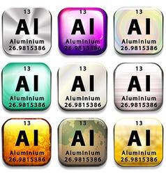 A button showing the element Aluminium vector