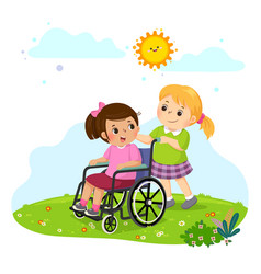 A little girl pushing her friend in a wheelchair vector