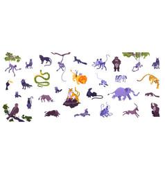 Animals flat icon set vector