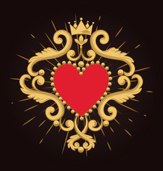 Beautiful ornamental red heart with crown on black vector