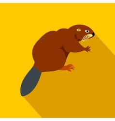 Beaver icon flat style vector image