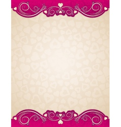 Beige background with valentines hearts vector