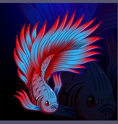 Betta fish esport mascot logo design vector