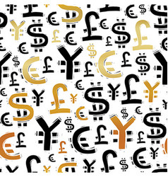 Black and gold currency signs usd pound euro and vector image