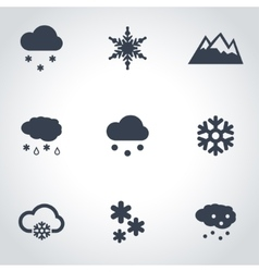 black snow icon set vector image