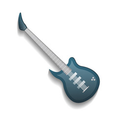 Blue electronic bass guitar isolated icon vector