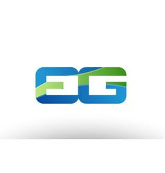 Blue green eg e g alphabet letter logo vector