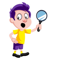 boy with magnifying glass on white background vector image