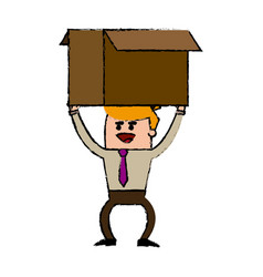 Businessman carrying a big cardboard box vector