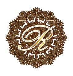 Capital letter r alphabet as a monogram vector