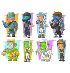 cartoon soldier scientist with mask character set vector image