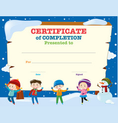 certificate template with kids in the snow vector image