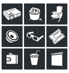 Cinema hall Icons Set vector image