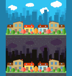 City with four one and two-story cartoon houses vector