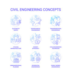 Civil engineering blue gradient concept icons set vector