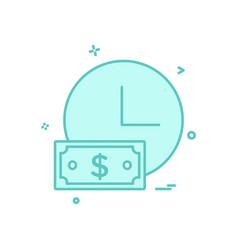 clock watch dollar icon design vector image