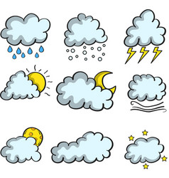 Cloud set weather theme of doodles vector