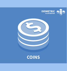 coins icon isometric template for web design vector image