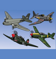 Collection of full color world war 2 military vector