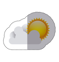 Color sticker of cloud with sun vector