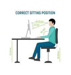 Correct sit position posture ergonomic computer vector