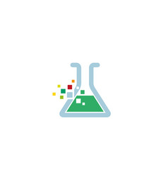 Creative pixel beaker lab logo design symbol vector