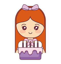 cute and little girl with sweet cake vector image