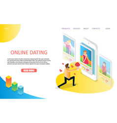dating online landing page website template vector image