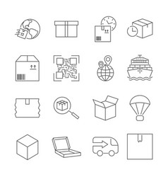 Delivery set of outline icons includes vector