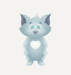 Detailed cute cat standing on two legs vector