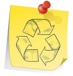 doodle sticky note recycle vector image