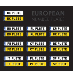 european number plates vector image