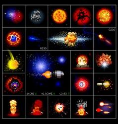 Explosions pixels vector