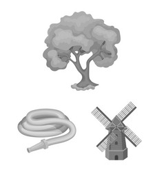 Farm and gardening monochrome icons in set vector