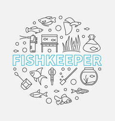 Fishkeeper round modern in vector