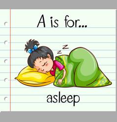 Flashcard letter a is for asleep vector