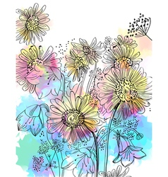 Flowers watercolor bouquet vector