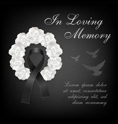 funeral card white roses wreath and black ribbon vector image