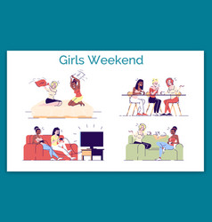 Girls weekend flat concept ladies chatting vector