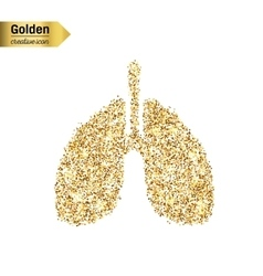 Gold glitter icon breath isolated on vector