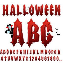 Halloween ABC Blood Gothic letters Ancient vector image