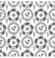 hand drawn christmas decorations seamless pattern vector image
