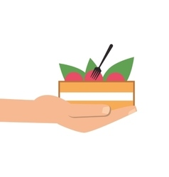 Hand holding salad bowl icon vector