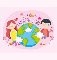 Happy children day little girl and boy world vector